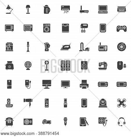 Electronic Devices Vector Icons Set, Modern Solid Symbol Collection, Filled Style Pictogram Pack. Si
