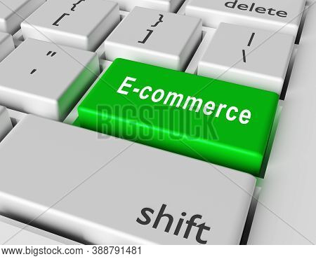 E-commerce Concept. Word E-commerce On Button Of Computer Keyboard. 3d Rendering