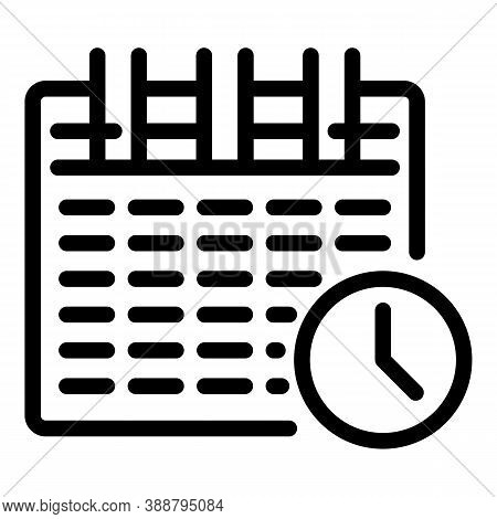 Calendar Stopwatch Icon. Outline Calendar Stopwatch Vector Icon For Web Design Isolated On White Bac