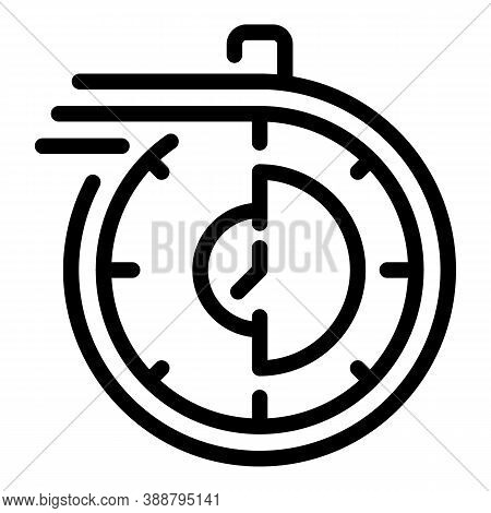 Stopwatch Running Icon. Outline Stopwatch Running Vector Icon For Web Design Isolated On White Backg