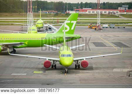 S7 Airlines Planes On The Airfield. Domodedovo Airport, Russia - August 2020