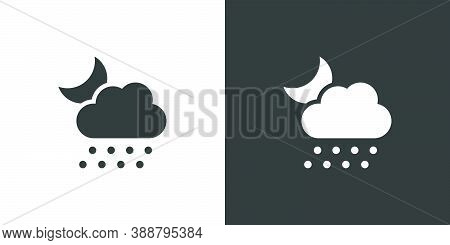 Hail, Cloud And Moon. Isolated Icon On Black And White Background. Weather Glyph Vector Illustration