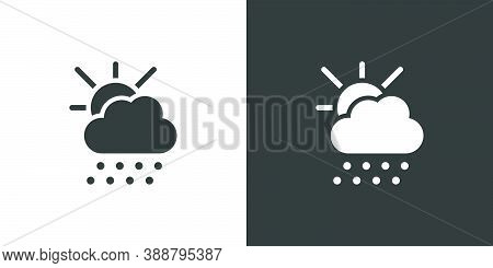 Hail, Sun And Cloud. Isolated Icon On Black And White Background. Weather Glyph Vector Illustration