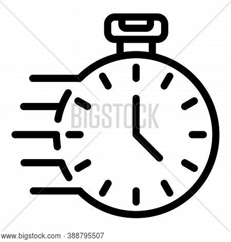 Fast Delivery Stopwatch Icon. Outline Fast Delivery Stopwatch Vector Icon For Web Design Isolated On