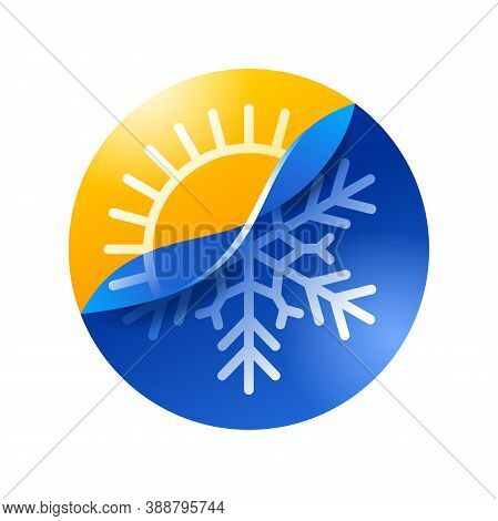 Climat Change From Hot To Cold - Half Sun Half Snowflake - Climate Control, Weather Difference Icon
