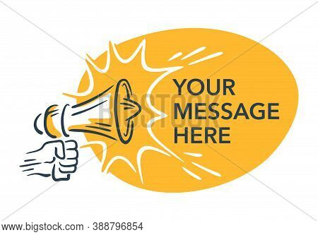 Loudspeaker In Hand-drawn Style And Yellow Copy Space - Isolated Illustration For Anouncement, Broad