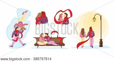 Young Happy Couple In Love Spend Time Together In Various Winter Relationship Scenes. Man And Woman