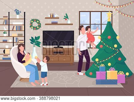 Christmas Morning Flat Color Vector Illustration. Decorated Evergreen Tree. Hygge Life. Playng With