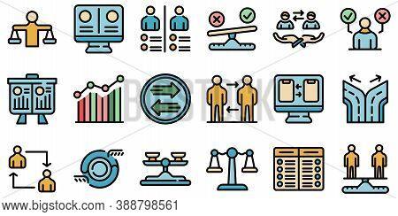 Comparison Icons Set. Outline Set Of Comparison Vector Icons Thin Line Color Flat On White