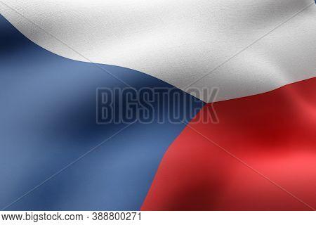 3d Rendering Of A Detail Of A Silked Czech Republic Flag