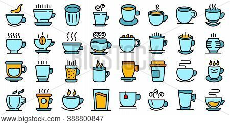 Mug Icons Set. Outline Set Of Mug Vector Icons Thin Line Color Flat On White