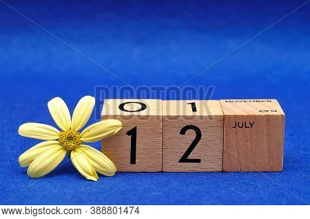 12 July On Wooden Blocks With A Yellow Flower On A Blue Background