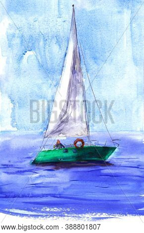 Watercolor Illustration, Hand Drawn Sailboat. Art Print Emerald Yacht Sails, Watercolor Effect Blue