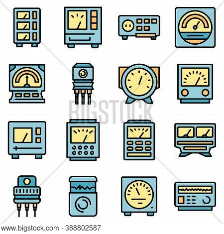 Voltage Regulator Icons Set. Outline Set Of Voltage Regulator Vector Icons Thin Line Color Flat On W
