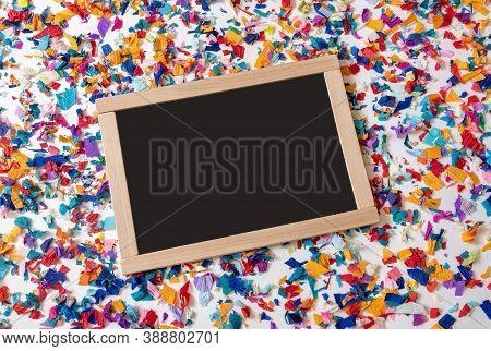 School Or Shopping Black Board On The Bright Confetti Background