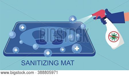 Disinfection Mat With Footprint Sign In Flat Design. Sanitizing Mat To Clean Covid-19 Coronavirus In