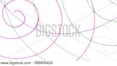 Random Scrawl Wallpaper. Pink Abstract Pencil Artwork. Graphic Simple Banner. Green Geometric Circul