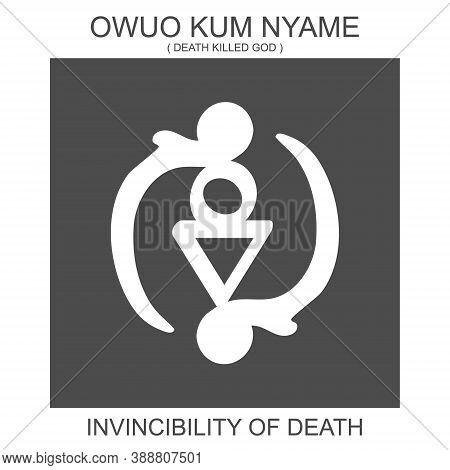 Vector Icon With African Adinkra Symbol Owuo Kum Nyame. Symbol Of Invincibility Of Death
