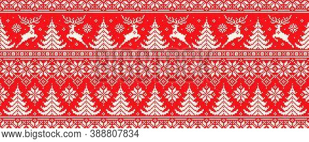 Christmas Pixel Pattern With Reindeers. Traditional Nordic Seamless Striped Ornament. Scheme For Kni