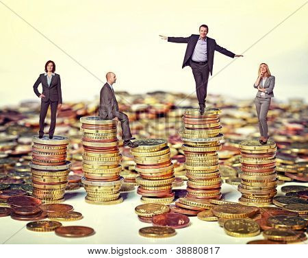 business people on euro coin piles