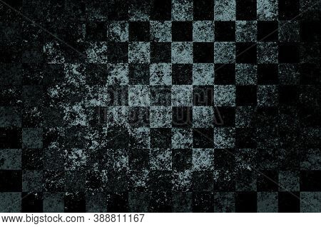 Gray Black Checkered Background With Blur, Gradient And Grunge Texture. Space For Graphic Design. Ch