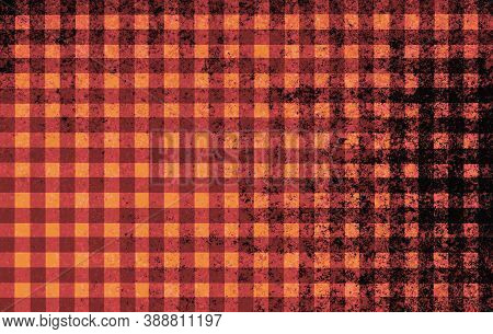 Orange Black Red Brown Checkered Background With Blur, Gradient And Grunge Texture. Space For Graphi