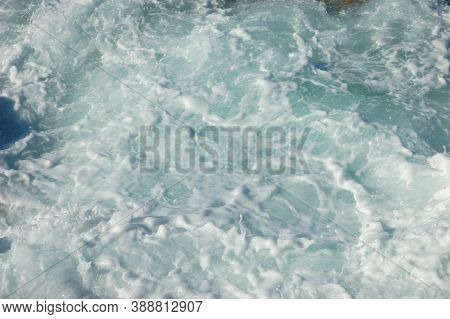 Sea Boils, Strong Surf, Waves, White Foam Fascinating Picture