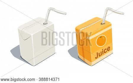 Cardboard pack with tube blank and for orange juice. Beverage Package. Packaging healthy food. Container with natural fruit sap, isolated white background. 3D illustration.
