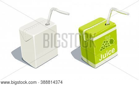 Cardboard pack with tube blank and for grapes juice. Beverage Package. Packaging healthy food. Container with natural fruit sap, isolated white background. 3D illustration.