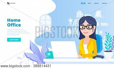 Home Office Concept. Female Freelancer Working On Laptop At Home. Hero Image With Character. Modern