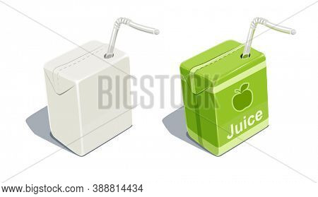 Cardboard pack with tube blank and for apple juice. Beverage Package. Packaging healthy food. Container with natural fruit sap, isolated white background. 3D illustration.