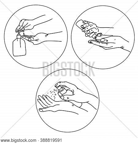 Hand Antiseptic Treatment, Various Forms Of Antiseptics In The Form Of A Gel Or Spray, Personal Hygi