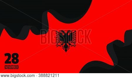 Background Design Of Albanian Flag. Good Template For Albanian National Day Of Albanian Independence