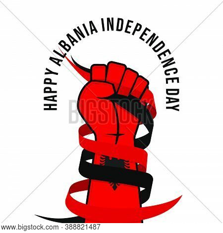 Albania Independence Day Design With The Colored Hand Of Albanian Flag. Good Template For Albanian N