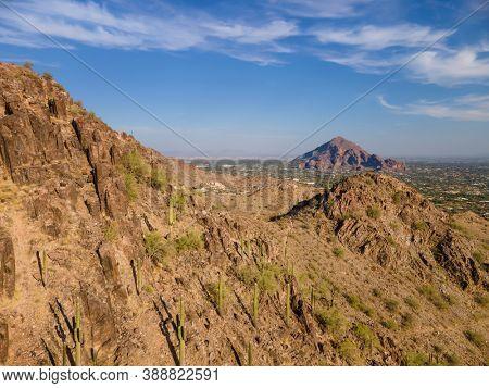 High point of view across from Piestewa Peak Dreamy Draw to Camelback Mountain in Phoenix, Scottsdale, Arizona,USA