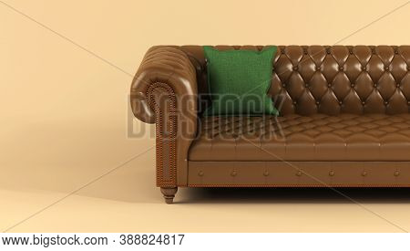 Leather Brown Sofa On Wooden Legs With Quilted Back And Green Fabric Pillow On Beige Background Fron
