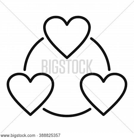 Love Heart Affection Icon. Outline Love Heart Affection Vector Icon For Web Design Isolated On White