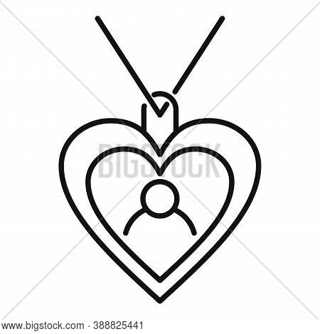Emblem Heart Affection Icon. Outline Emblem Heart Affection Vector Icon For Web Design Isolated On W