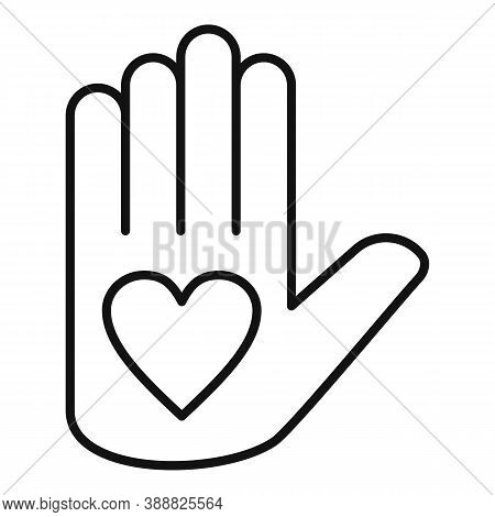 Affection Heart Hand Icon. Outline Affection Heart Hand Vector Icon For Web Design Isolated On White