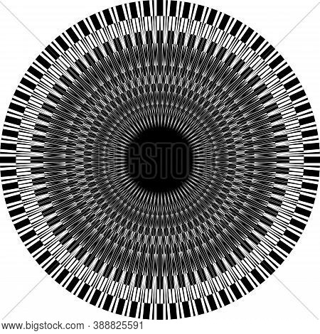 Abstract Arabesque Pianno Keys Like Classic Perspective Negative Space Design Black On Transparent B