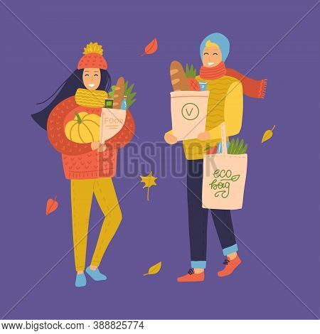 People Go Shopping From The Grocery Store Set. Women And Man With Grocery Bags And Pumpkin. Autumn M