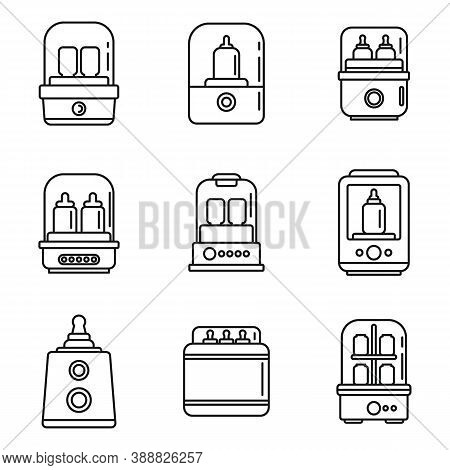 Baby Bottle Sterilizer Icons Set. Outline Set Of Baby Bottle Sterilizer Vector Icons For Web Design