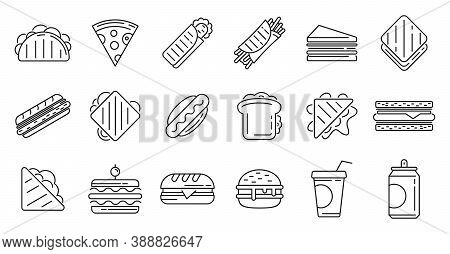 Sandwich Bar Icons Set. Outline Set Of Sandwich Bar Vector Icons For Web Design Isolated On White Ba