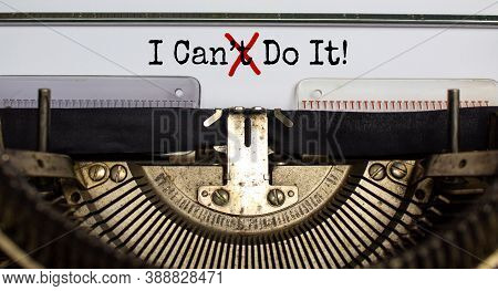 Cant Crossed Out To Read I Can Do It Concept For Self Belief, Positive Attitude And Motivation Writt