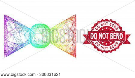 Spectrum Vibrant Network Bow Tie, And Do Not Bend Grunge Ribbon Seal Print. Red Stamp Seal Has Do No