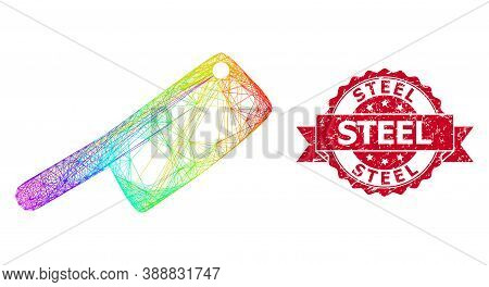 Rainbow Colorful Network Butchery Knife, And Steel Rubber Ribbon Stamp. Red Stamp Seal Contains Stee