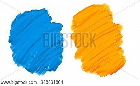Blue And Yellow Thick Acrylic Watercolor Paint Texture Background