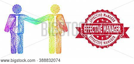 Rainbow Colorful Net Businessmen Relations, And Effective Manager Textured Ribbon Stamp Seal. Red Se