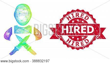 Rainbow Vibrant Wire Frame Butchery Worker, And Hired Dirty Ribbon Stamp. Red Stamp Contains Hired C