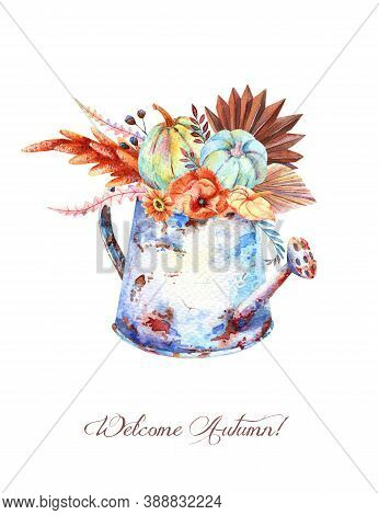 Watercolor Fall Floral Blue Pumpkins Bouquet In Vintage Rusty Watering Can. Thanksgiving Decor, Autu